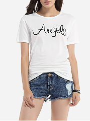 Round Neck Cotton Letter Printed Short-sleeve-t-shirt