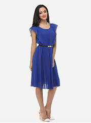 Plain Falbala Chic Crew Neck Skater Dress