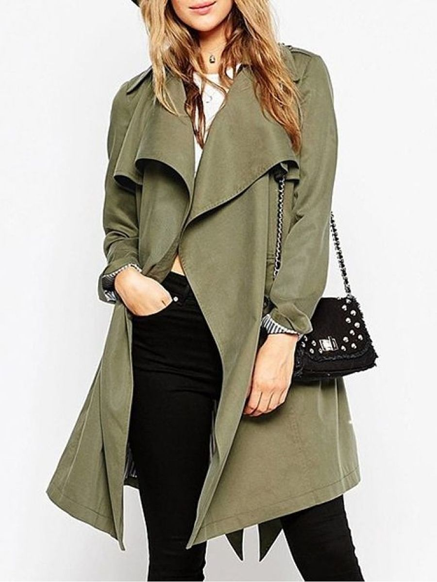 Plain Stylish Atmospheric Lapel Trench Coats