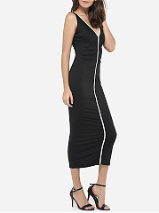 V Neck Dacron Color Block Maxi Dress