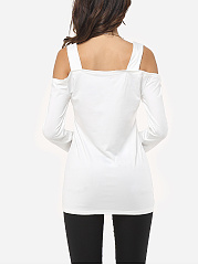 Autumn Spring Summer  Cotton Blend  Women  Open Shoulder  Plain Long Sleeve T-Shirts