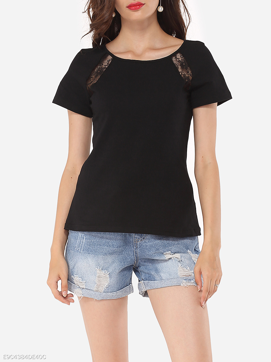 Hollow Out Lace Patchwork Plain Designed Round Neck Short-sleeve-t-shirt