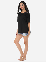 Hollow Out Lace Patchwork Plain Delightful Boat Neck Casual-t-shirt