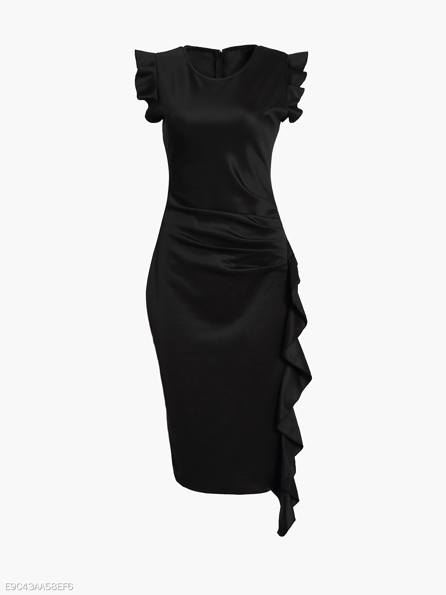 Round Neck Pleated Cascading Ruffles Plain Bodycon-dress