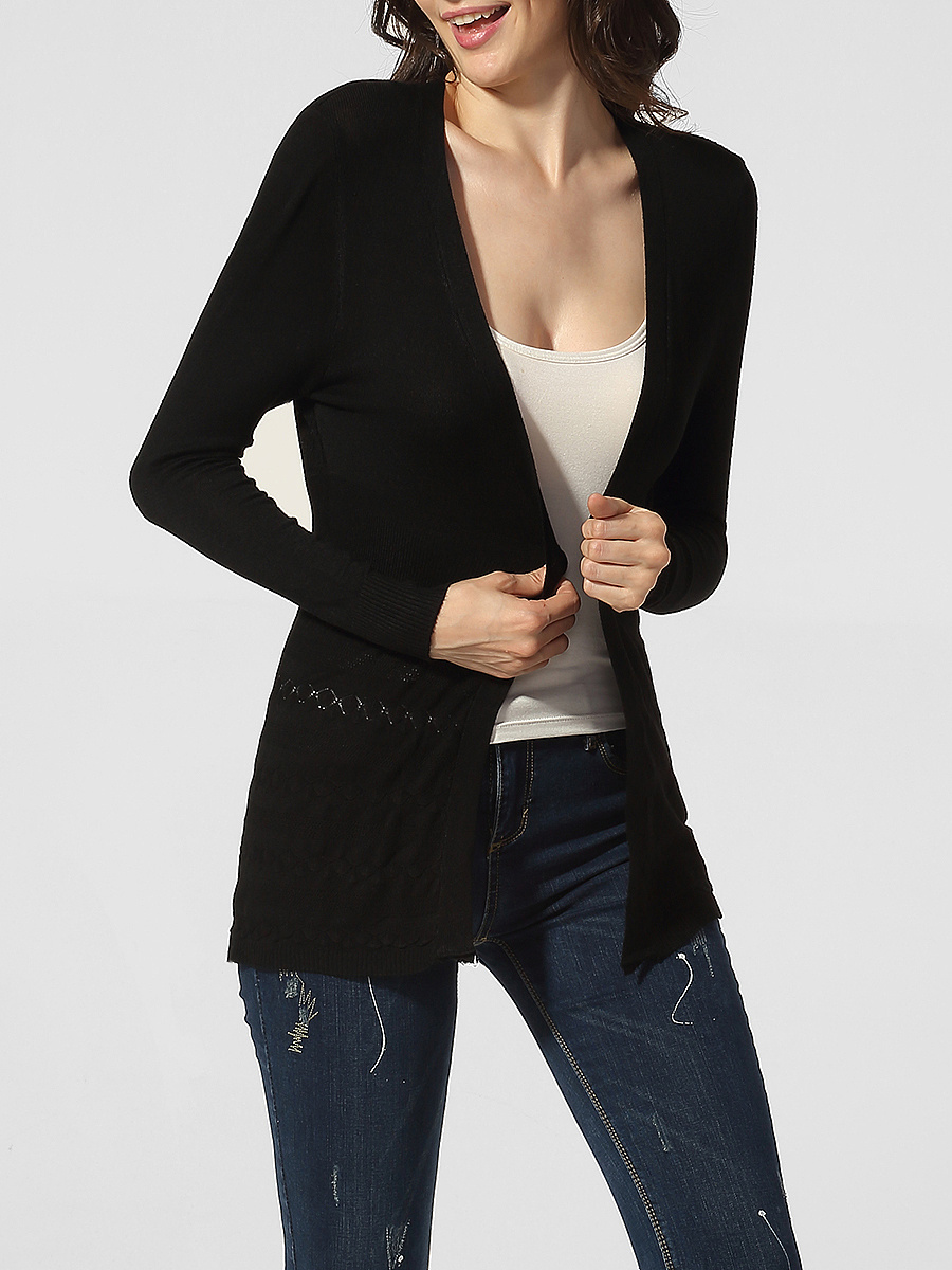 Collarless Embossed Design Plain Cardigan
