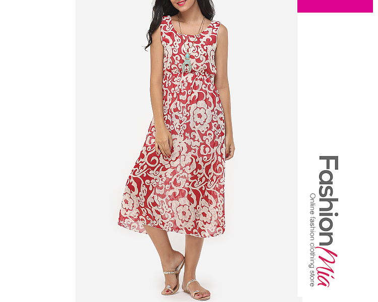 Image of Assorted Colors Bohemian Floral Charming Round Neck Maxi-dress