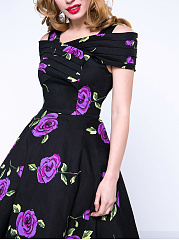 Vintage Floral Printed Open Shoulder Skater Dress