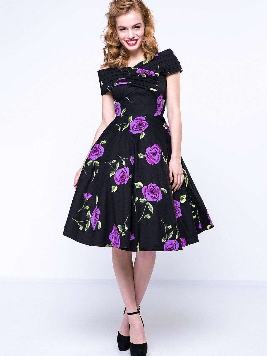 Floral Printed Vintage Awesome Open Shoulder Skater Dress