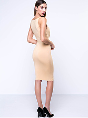 Khaki Stunning Scoop Neck Solid-Color Bodycon Dress