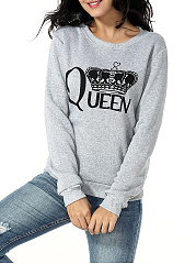 Polo Collar  Letters  Long Sleeve Sweatshirts