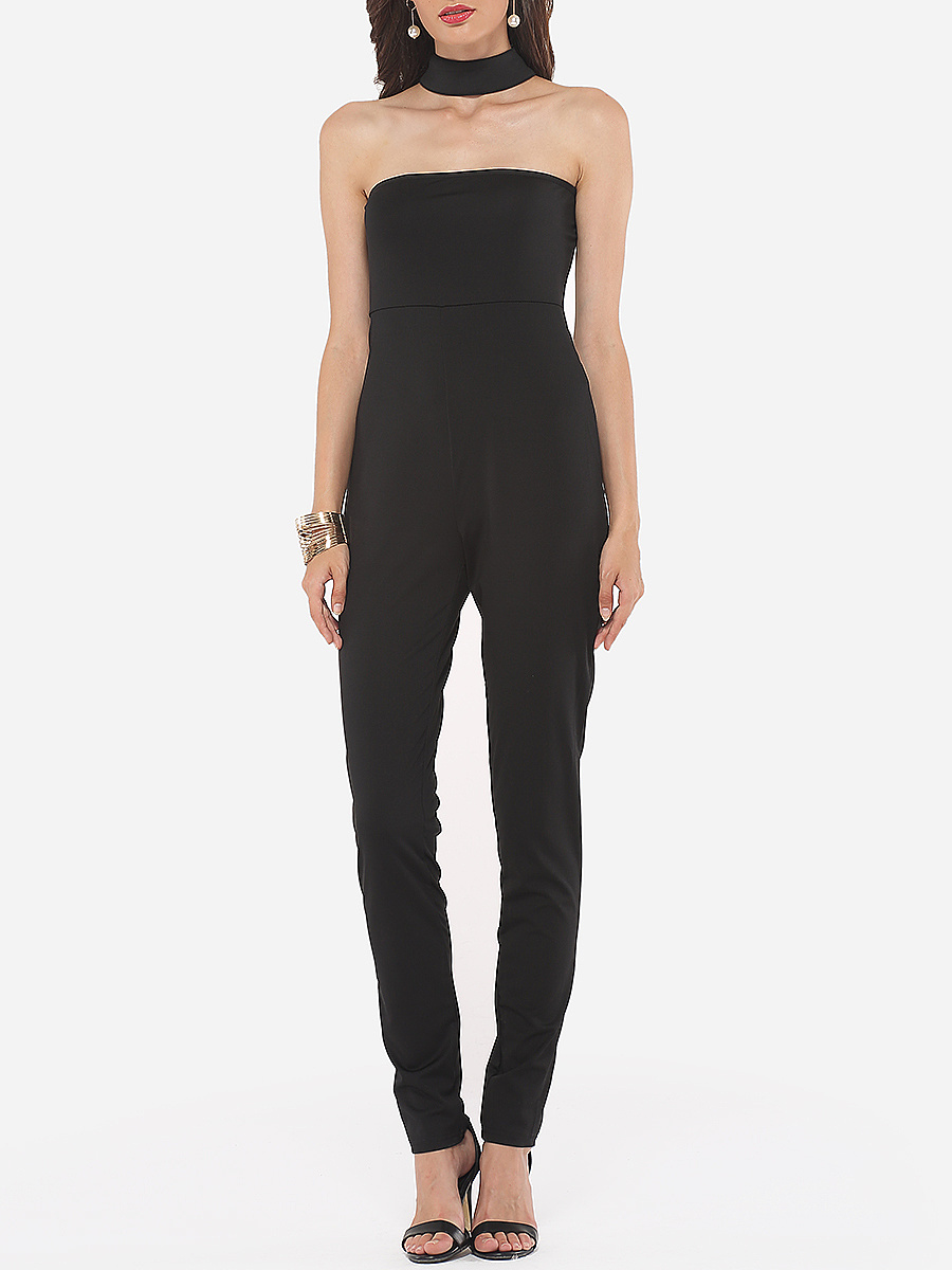 Plain Zips Elegant Courtly Awesome Jumpsuits