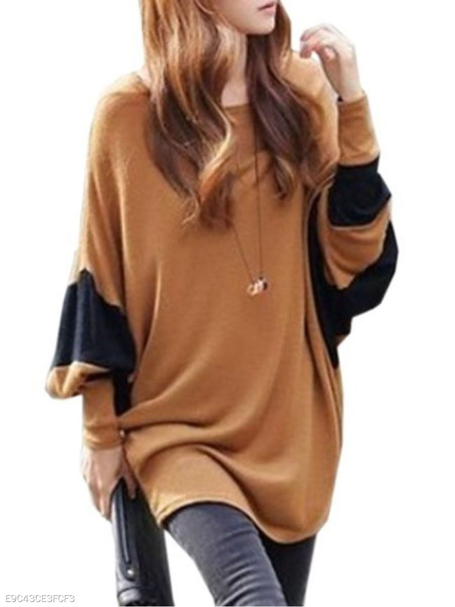 Autumn Spring  Cotton  Women  Round Neck  Contrast Piping  Plain  Batwing Sleeve Long Sleeve T-Shirts
