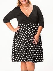Deep-V-Neck-Polka-Dot-Plus-Size-Flared-Dress
