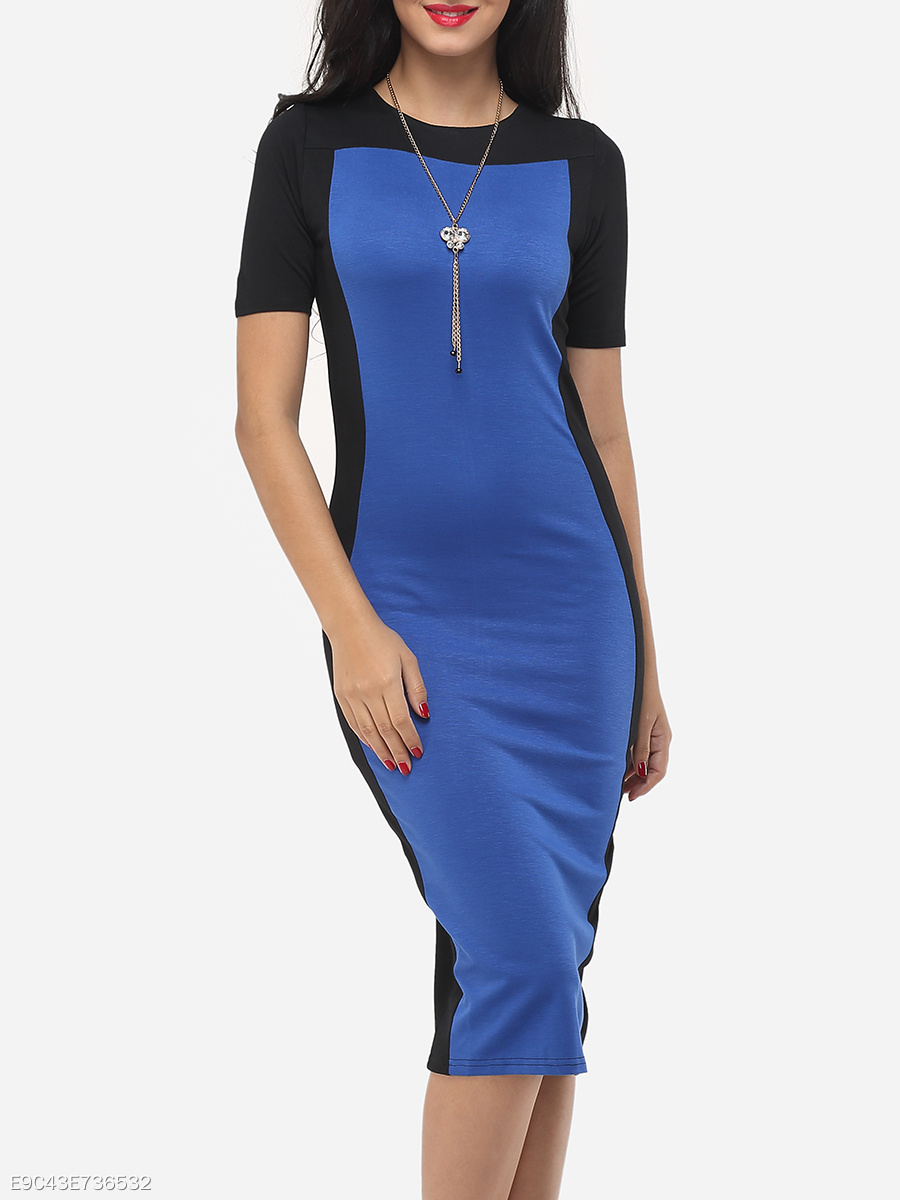 Color Block Charming Round Neck Bodycon-dress