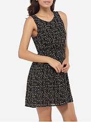 Round Neck Dacron Hollow Out Printed Skater-dress