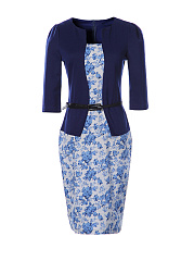 Office Elegant Floral Fake Two-Piece Bodycon Dress