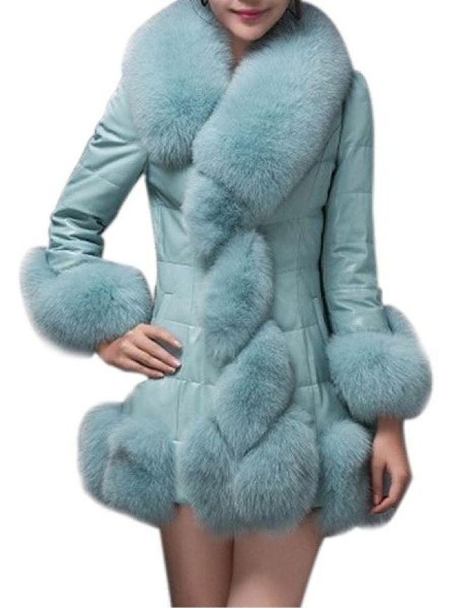 Fur Collar Plain Leather Leather Coats