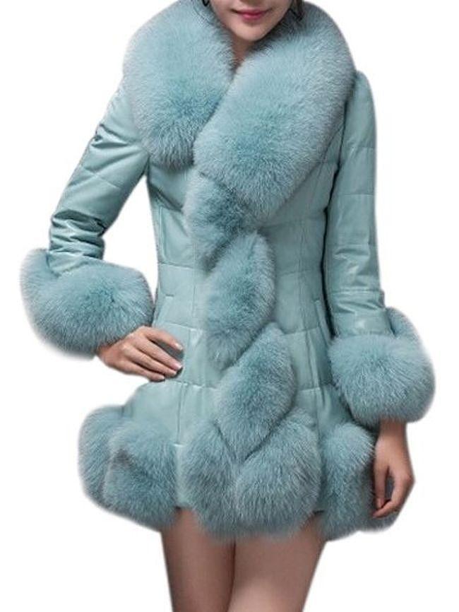 Fashionmia Fur Collar Plain Leather Leather Coats