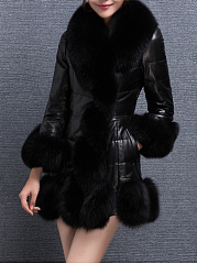 Fur Collar Plain Leather Leather Coats