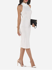 Plain Elegant Cowl Neck Bodycon Dress