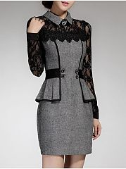 Women See-Through Peplum Doll Collar Bodycon Dress