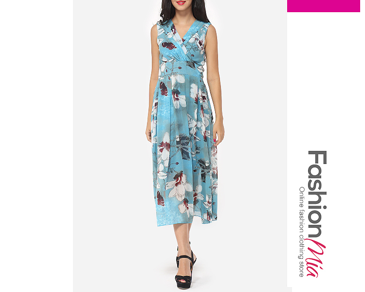 Image of Assorted Colors Floral Printed Zips Chic V Neck Maxi Dress