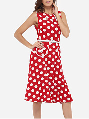 Pockets Round Neck Dacron Hollow Out Polka Dot Printed Skater-dress