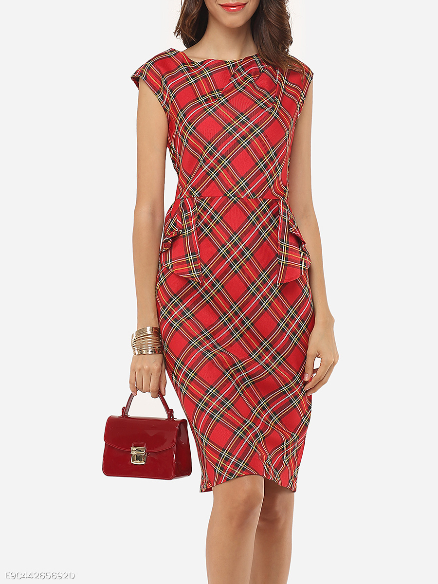 Summer Round Neck Plaid Bodycon Dress