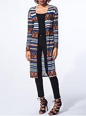 Collarless Geometric Striped Cardigan