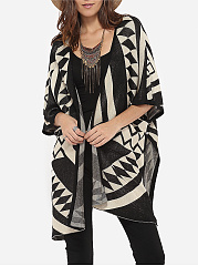 Loose Fitting Collarless Knit Color Block Geometric Printed Cardigan