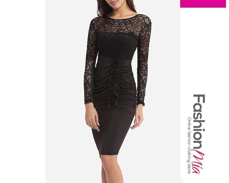 Zips Embossed Design Round Neck Dacron Hollow Out Lace Patchwork Plain Bodycon Dress FASHIONMIA