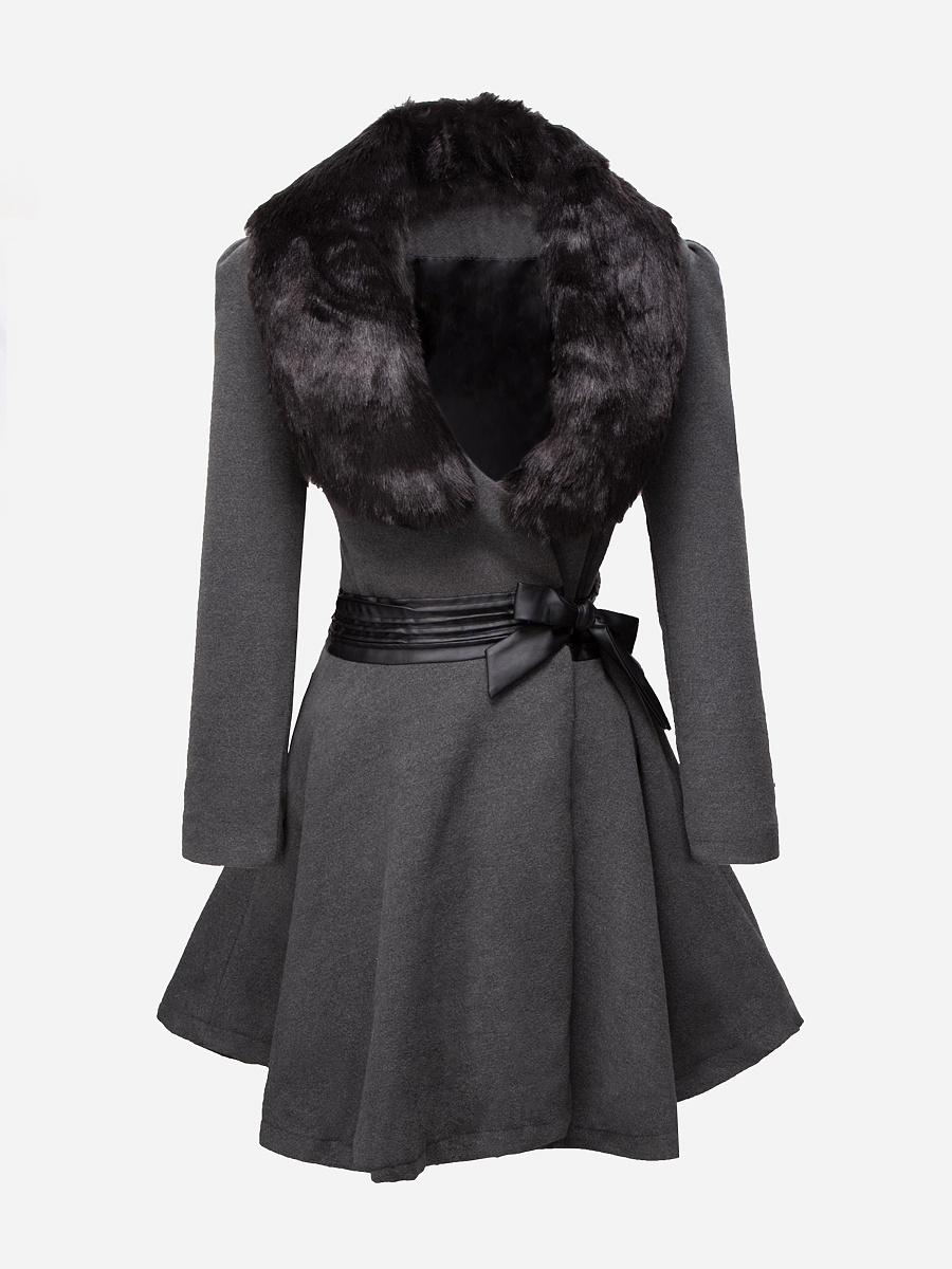 Removable Fur Collar Bowknot Coat