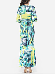 Printed Modern V Neck Maxi-dress