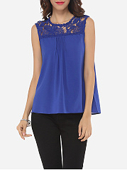 Spring Summer  Women  Round Neck  Decorative Lace  Plain  Sleeveless Blouses