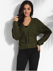 Single Breasted V Neck Dacron Plain Cardigan