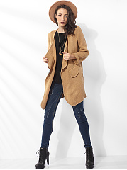 Flap Pockets Lapel Woolen Plain Cardigan