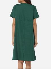 Pockets Round Neck Linen Embroidery Shift-dress