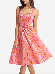 Floral Printed Captivating Spaghetti Strap Skater-dress
