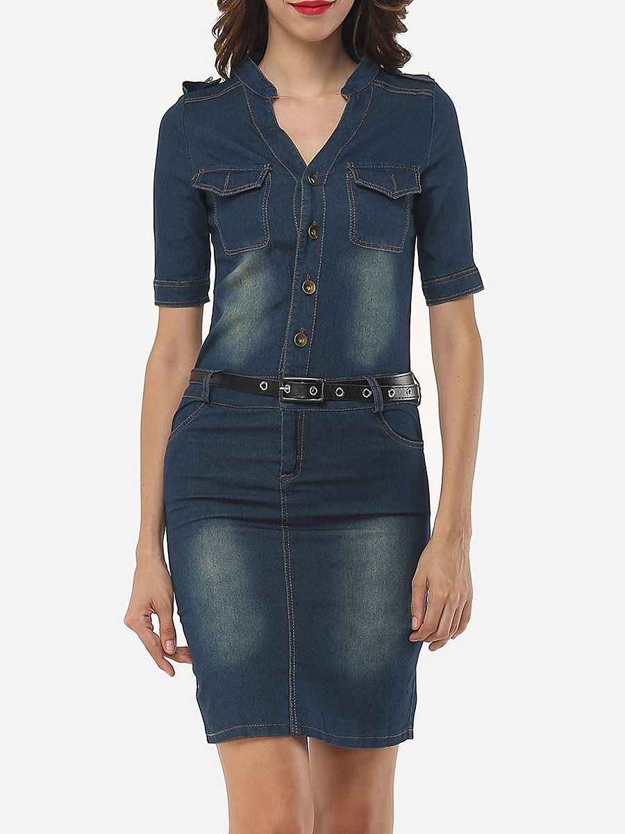 Split Neck Flap Pocket Denim Bodycon Dress