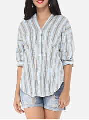 Striped Exquisite V Neck Blouse