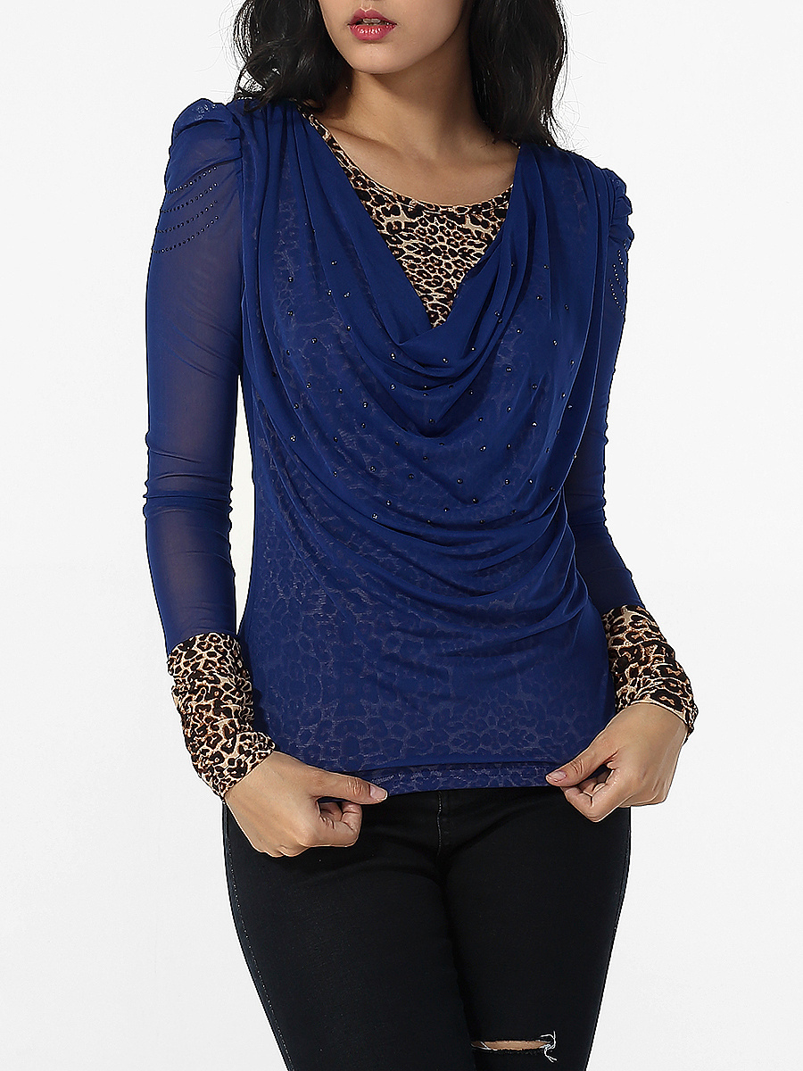 Round Neck Diamante Leopard Printed Patchwork Blouse