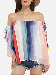 Loose Fitting Cape Sleeve Off Shoulder Chiffon Assorted Colors Printed Striped Casual-t-shirt