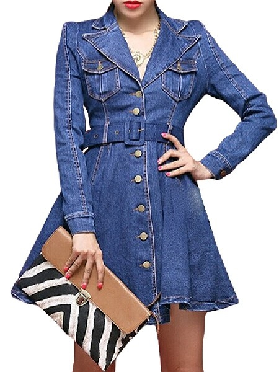 Denim A-Line Trench Coats