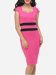 Color Block Split Striped Modern Sweet Heart Bodycon-dress