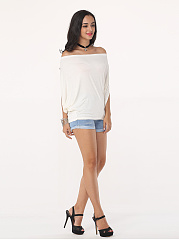 Plain Batwing Modern Off Shoulder Casual-t-shirt