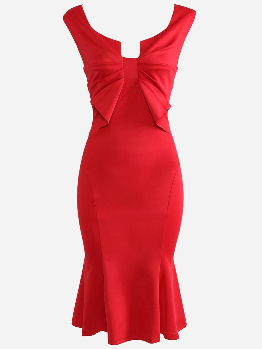 Sweet Heart Pleated Bodice Mermaid Bodycon Dress