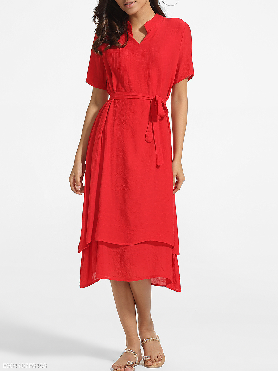 Bowknot Band Collar Cotton Linen Plain Maxi-dress