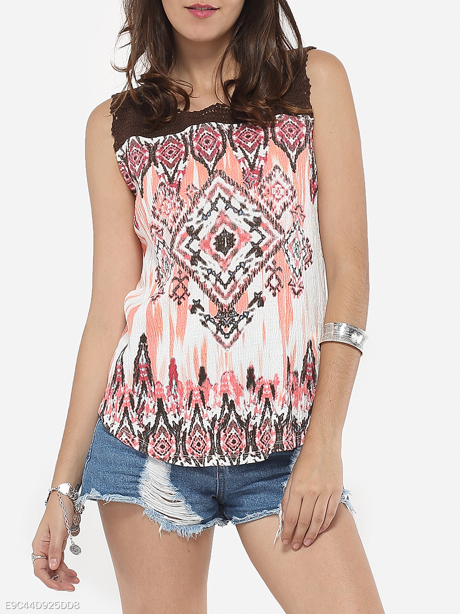 Round Neck Dacron Assorted Colors Geometric Hollow Out Patchwork Printed Camisole