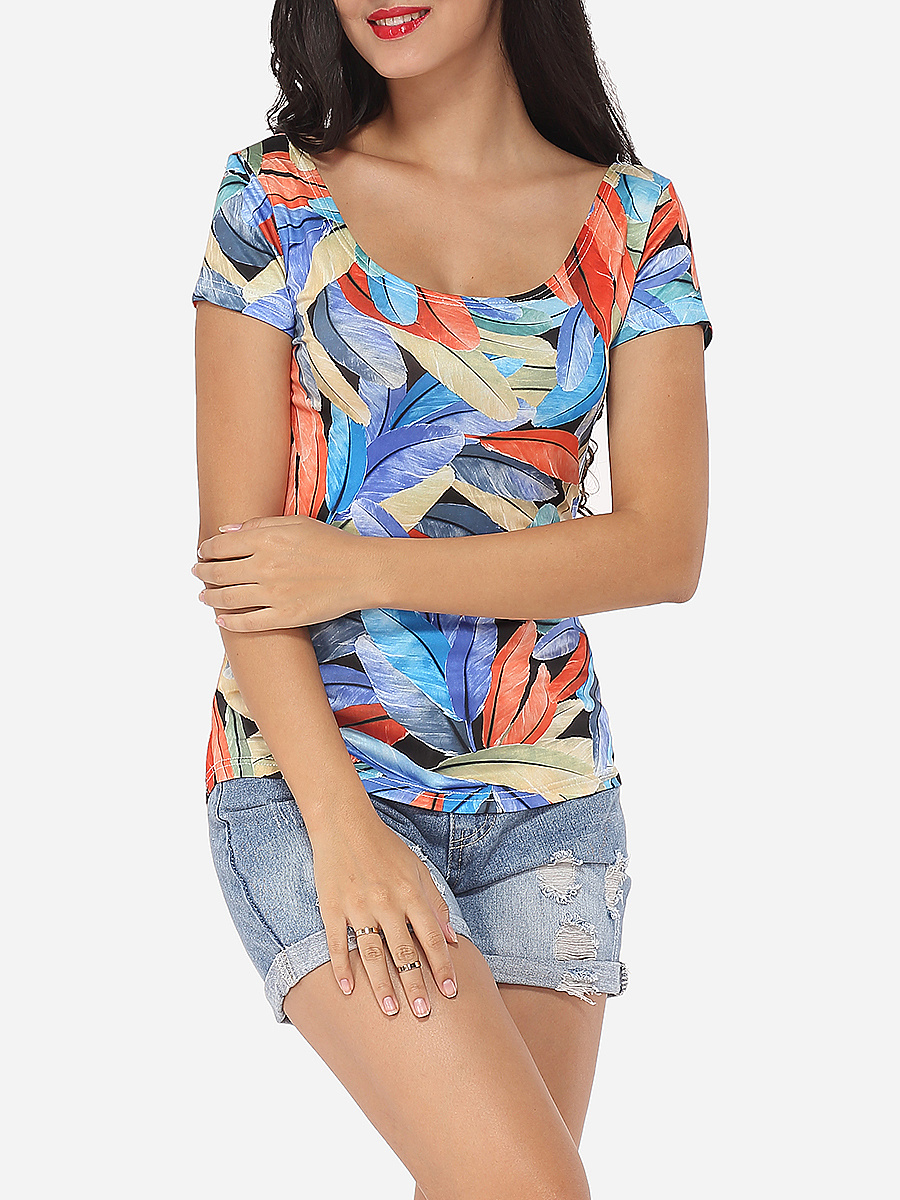 Scoop Neck Cotton Printed Short-sleeve-t-shirt