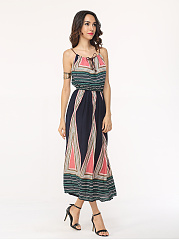 Assorted Colors Bohemian Geometric Printed Bowknot Maxi-dress